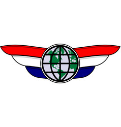 world and wings emblem vector image