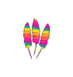 Zig zag colorful feathers art vector
