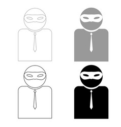 The man incognito in a mask the black and grey vector