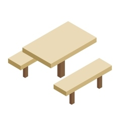 Wooden table and bench 3d isometric icon vector image