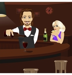 Young bartender pouring red wine into glass vector image