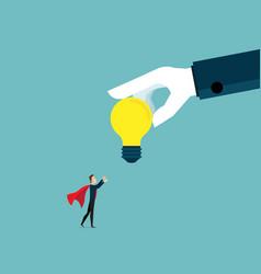 Businessman receiving big bulb idea from big vector