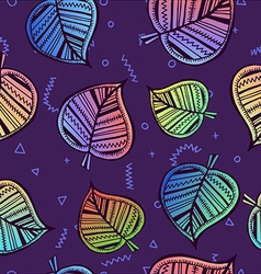Leaf seamless pattern with colorful summer style vector image vector image
