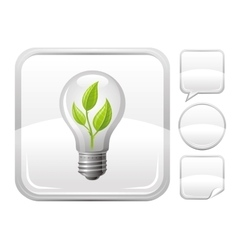 Light bulb with sprout icon on silver button vector