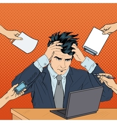 Pop Art Stressed Businessman with Laptop vector image