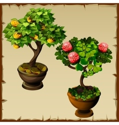 Two trees bonsai with coins and flowers vector image