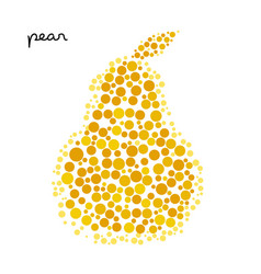 yellow pear silhouette created from dots vector image vector image