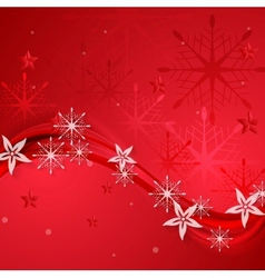 Abstract red wavy Christmas background vector image vector image