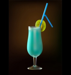 cocktail blue lagoon with kiwi vector image vector image