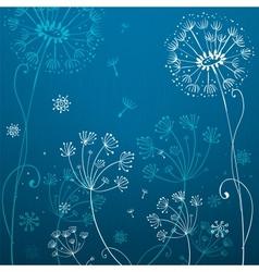 Deep blue dandelion flowers vector