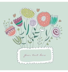 Hand-drawn floral frame vector image vector image