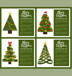 merry christmas and happy new year poster tree set vector image vector image