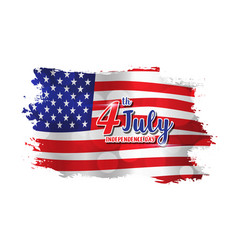 4th of july text design on abstract american flag vector image vector image