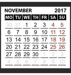 calendar sheet November 2017 vector image vector image
