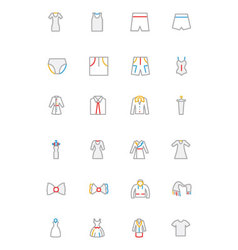 Clothes Colored Outline Icons 4 vector image vector image