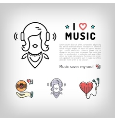 Music player icon girl listening music in vector image