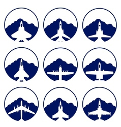The icons of military aviation vector image