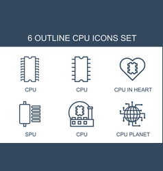 6 cpu icons vector image