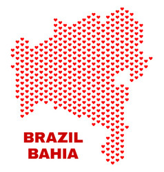 bahia state map - mosaic of valentine hearts vector image