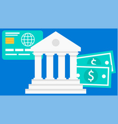 bank building on a blue background money exchange vector image
