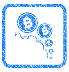 bitcoin deflation chart framed stamp vector image