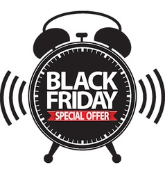 Black friday special offer alarm clock black icon vector image