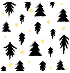 black gold seamless christmas tree pattern vector image