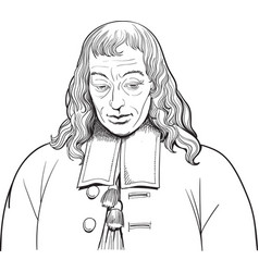 blaise pascal portrait in line art vector image