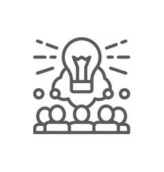 Brainstorm teamleader idea line icon vector
