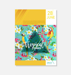 Brochure template tropical flowers parrots vector