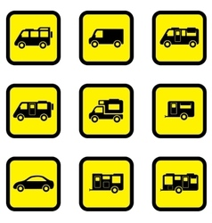 Camper car yellow icon set vector