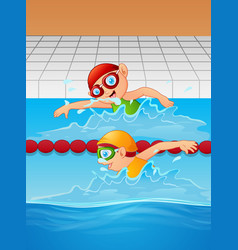 Cartoon boy swimmer in the swimming pool vector