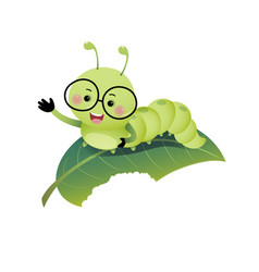 Cartoon caterpillar showing his hand on leaf vector