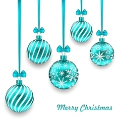 Christmas Background with Turquoise Glassy Balls vector image vector image