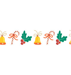 christmas border hand drawn seamless repeating vector image
