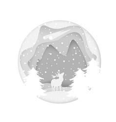 christmas white deer comet background vector image