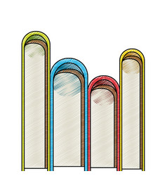 color crayon stripe silhouette of stack of books vector image