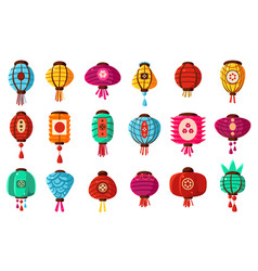 Colorful flat cartoon style street paper chinese vector