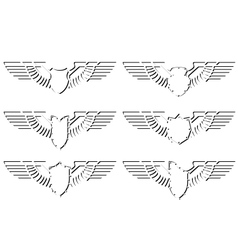 Contour abstract wings and shield vector