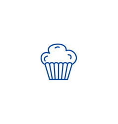 cupcake muffin line icon concept cupcake muffin vector image
