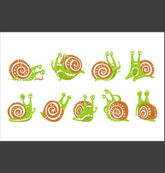 Cute snail character set funny mollusk with vector
