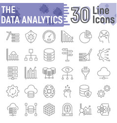 data analytics thin line icon set database signs vector image
