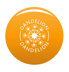 Delicate dandelion logo icon orange vector