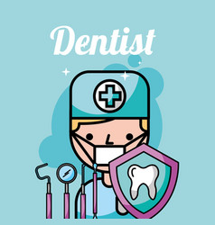 Dentist boy tooth protection instrument care vector