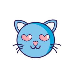 enamored cat head cute animal vector image