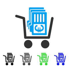 Euro cash out cart flat icon vector