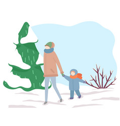 family walking outdoor mother and son in park vector image