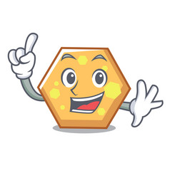 finger hexagon mascot cartoon style vector image