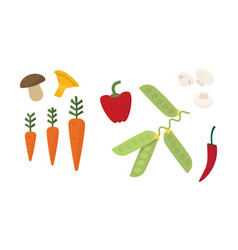 flat set of different vegetables fresh vector image
