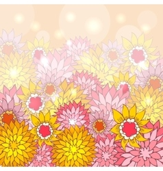 Floral background with hand-drawn flowers vector image